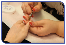 Manicure treatment at beauty salon