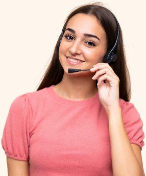 Rebecca answering calls on reception