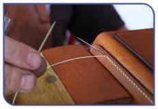 Stitching a bespoke leather handbag